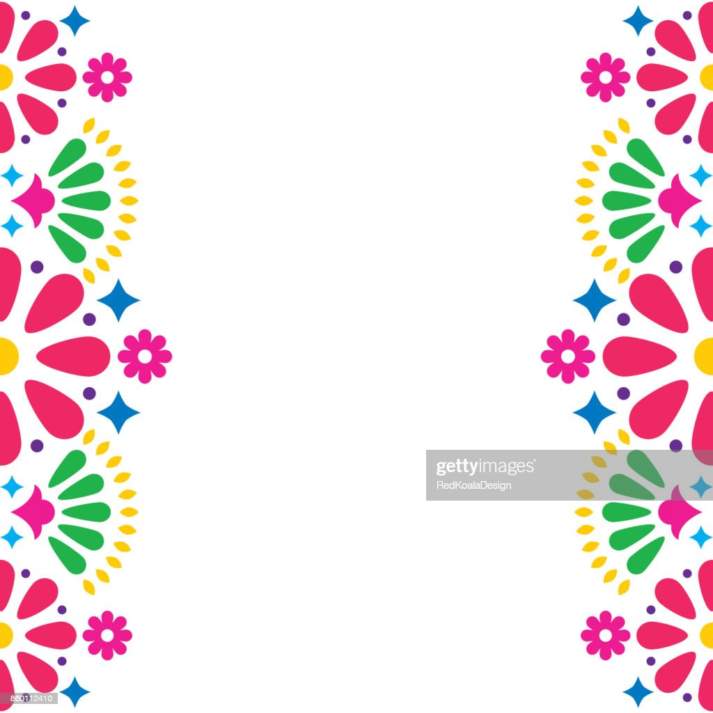 Mexican folk vector wedding or party invitation, greeting card, colorful frame design with flowers and abstract shapes