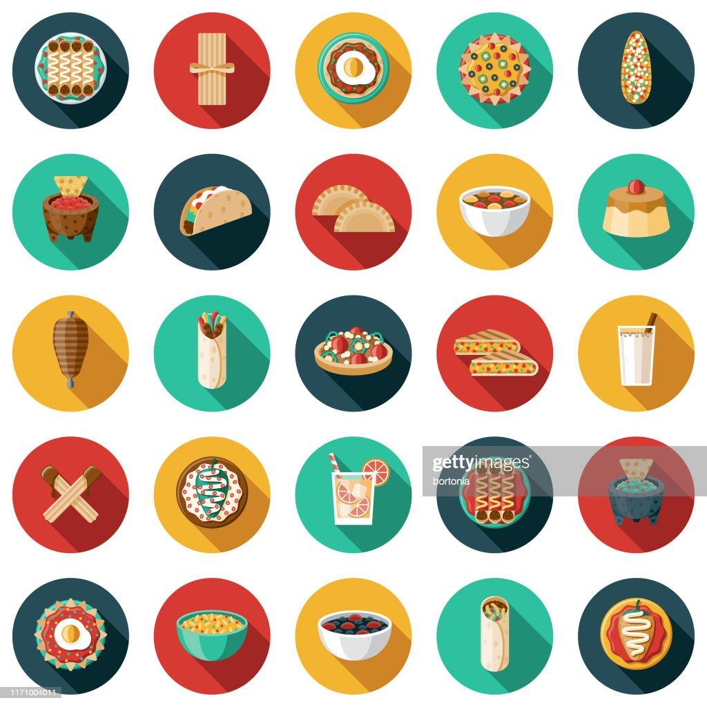 Jogo mexicano do ícone da comida e da bebida : Ilustração
