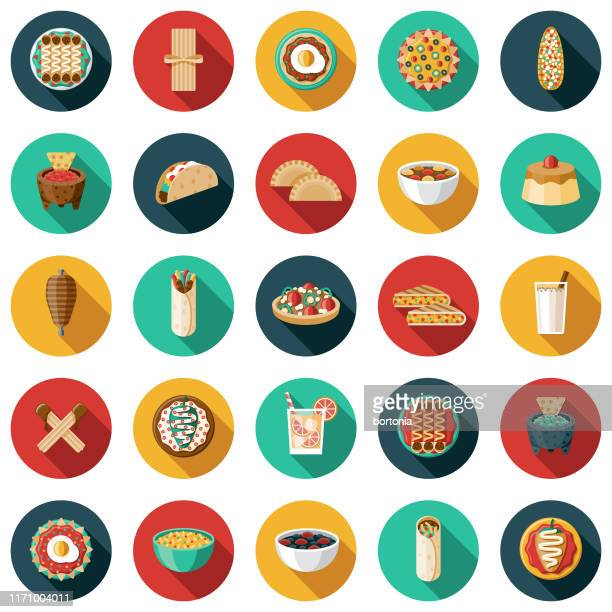 mexican food and drink icon set - bean stock illustrations