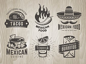 Mexican food badges on vintage wooden background