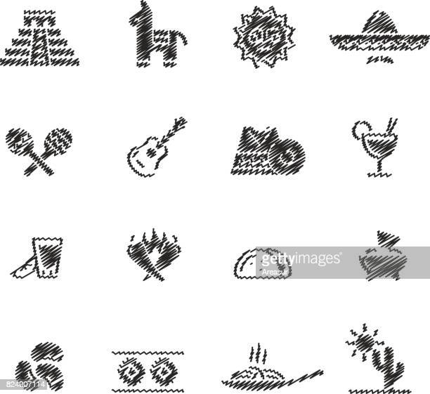 mexican food & culture // scribble series - mexican food stock illustrations, clip art, cartoons, & icons