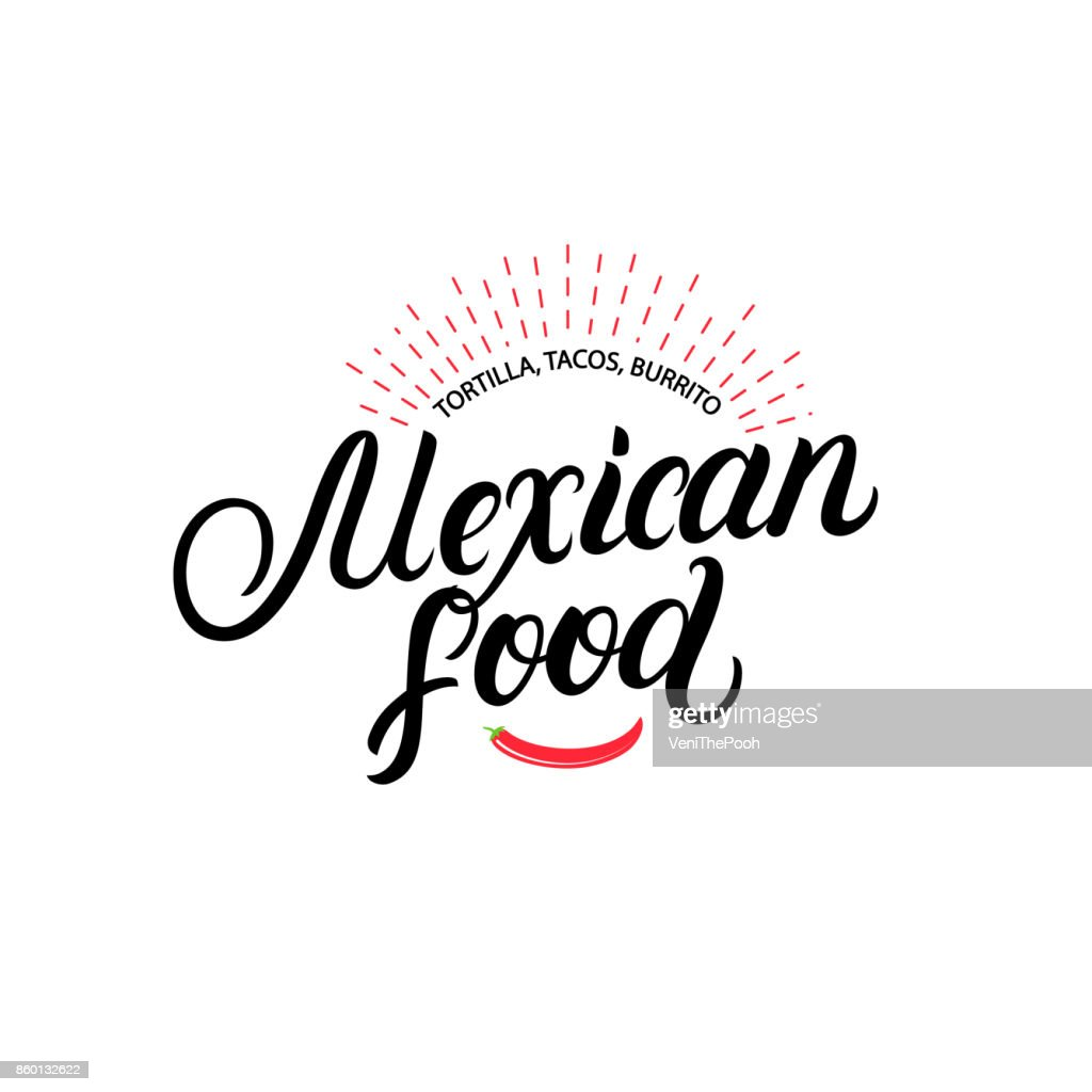 Mexican food hand written lettering label, badge, emblem with chilli pepper.