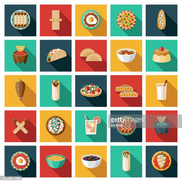 mexican food icon set - dessert topping stock illustrations