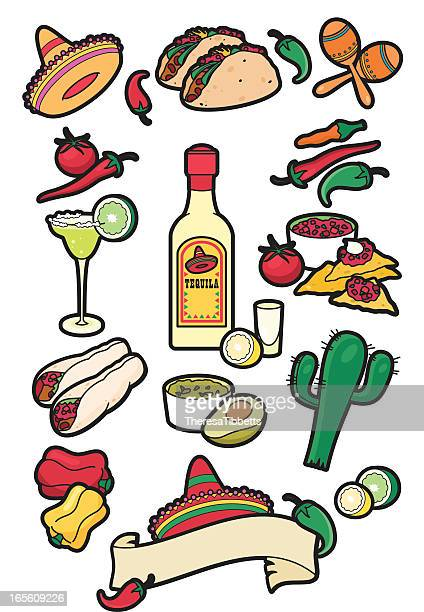 mexican food icons - mexican food stock illustrations, clip art, cartoons, & icons