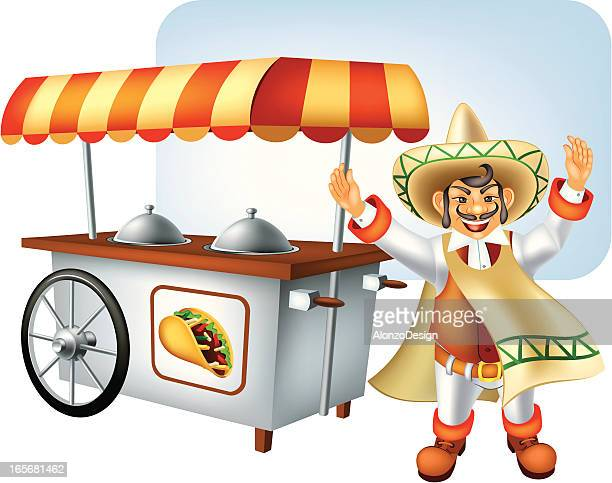 illustrations, cliparts, dessins animés et icônes de cuisine mexicaine kiosque - marchand