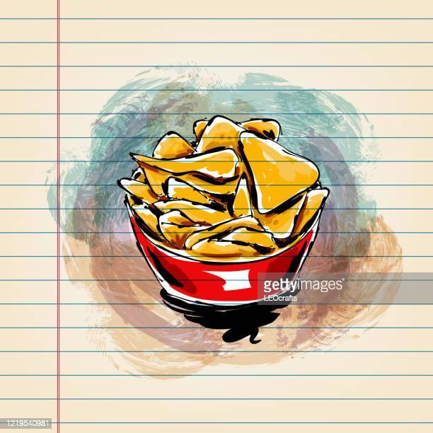 mexican food nacho drawing on ruled paper - nachos stock illustrations