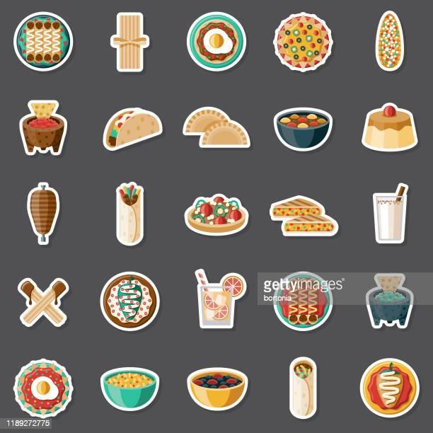 mexican food sticker set - fajita stock illustrations