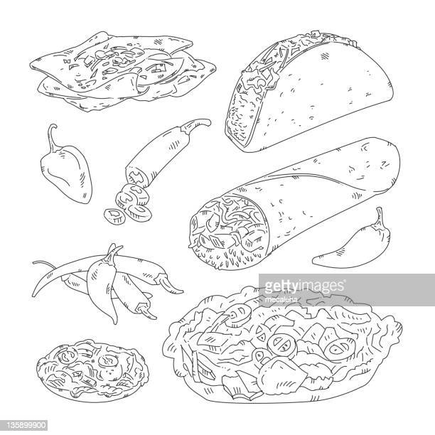 mexican food - mexican food stock illustrations, clip art, cartoons, & icons