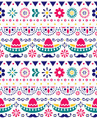 Mexican hat - sombrero and long mustache seamless vector floral pattern - textile, wallpaper design