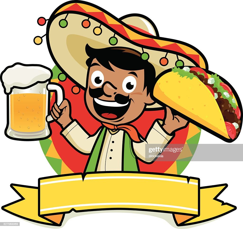 Mexican holding a cold beer and a taco