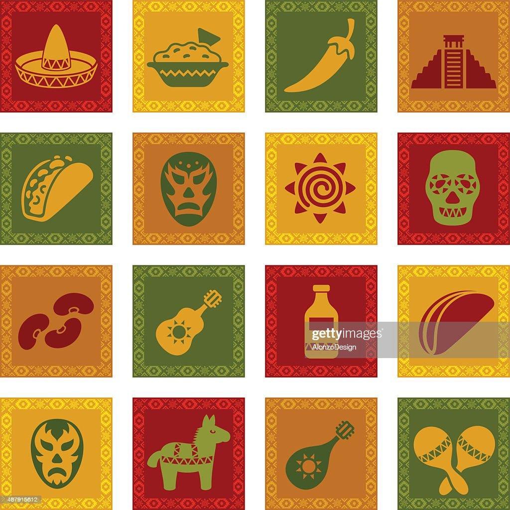 Conjunto de mexicano ícone : Ilustração de stock