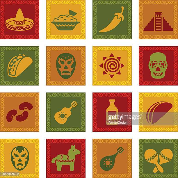 mexican icon set - sombrero stock illustrations