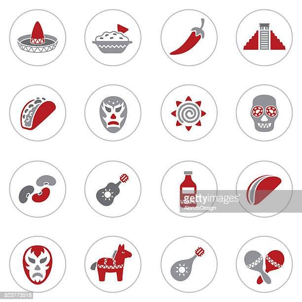 ilustrações, clipart, desenhos animados e ícones de mexican conjunto de ícones - fajita