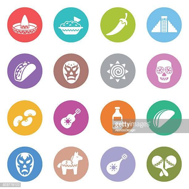 mexican icon set - fajita stock illustrations