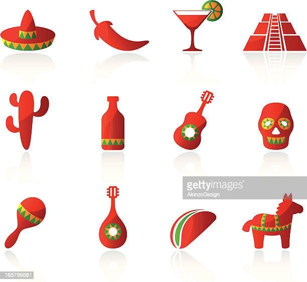 mexican icons - pinata stock illustrations