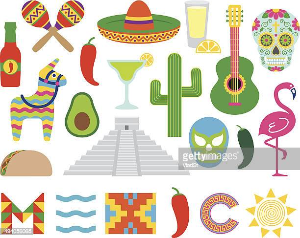 mexican icons - sombrero stock illustrations