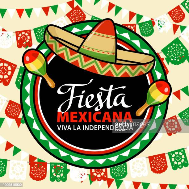 mexican independence day fiesta - sombrero stock illustrations