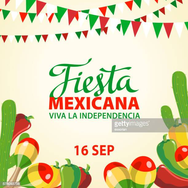mexican independence day invitation - fete stock illustrations