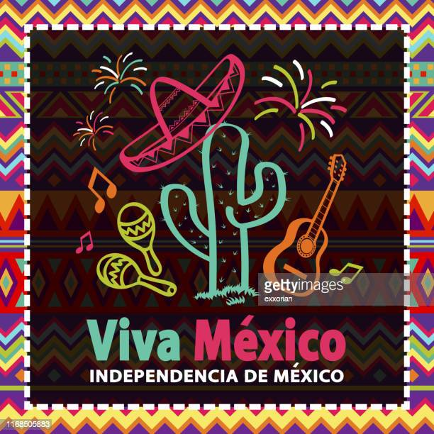 mexican independence day party - sombrero stock illustrations