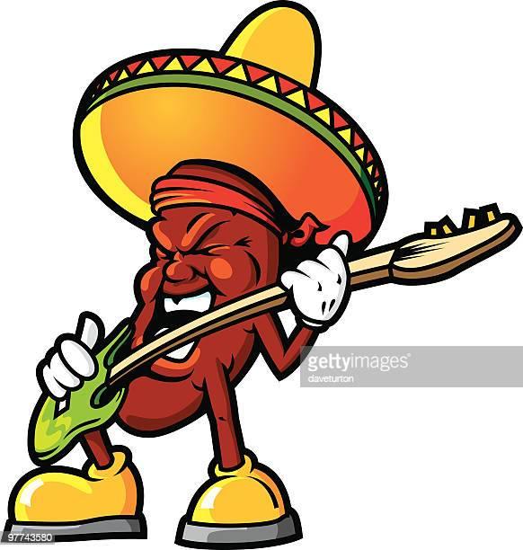 mexican jammin bean - sombrero stock illustrations