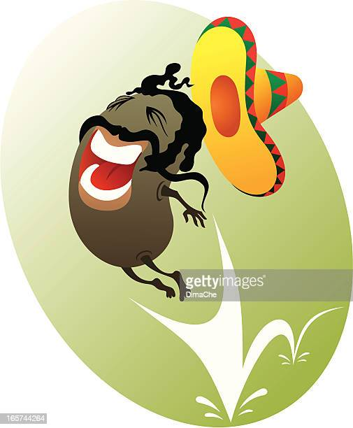 mexican jumping bean - bean stock illustrations, clip art, cartoons, & icons