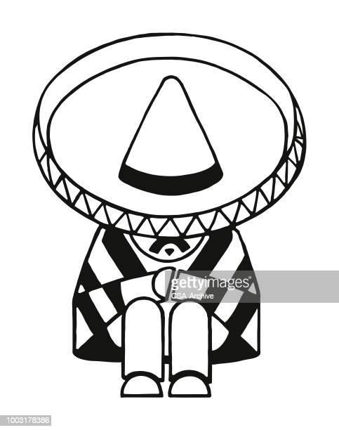 mexican man taking a nap - sombrero stock illustrations