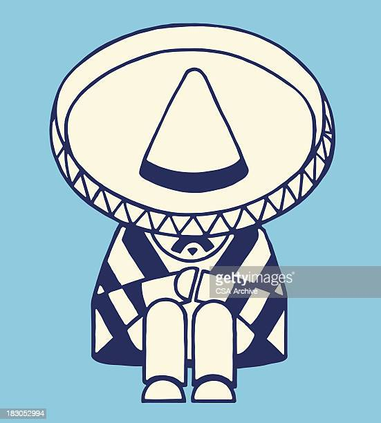 mexican man taking a nap - sombrero stock illustrations