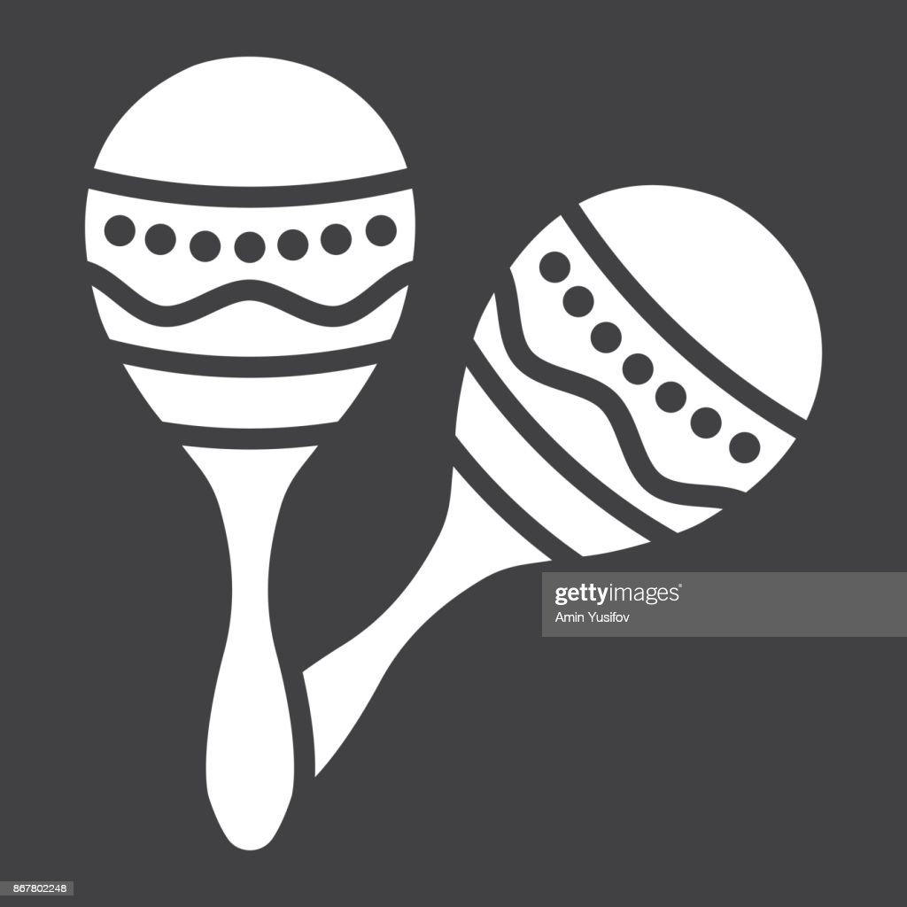 Mexican maracas glyph icon, music and instrument, sound sign vector graphics, a solid pattern on a black background, eps 10.