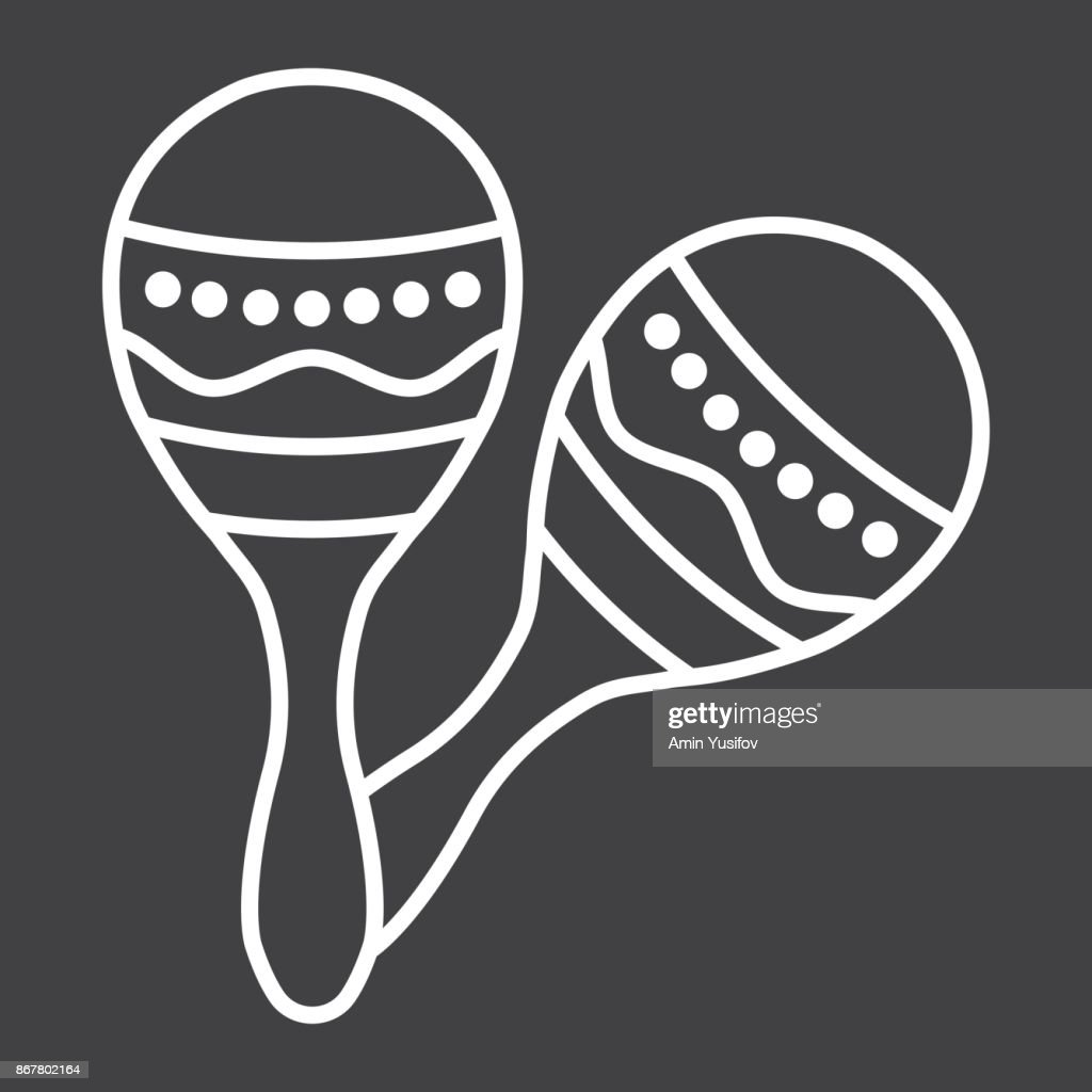 Mexican maracas line icon, music and instrument, sound sign vector graphics, a linear pattern on a black background, eps 10.