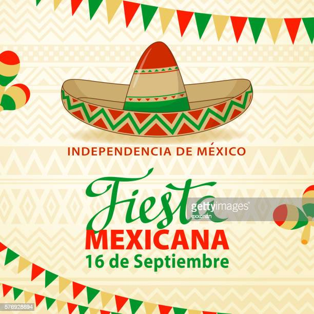 fiesta mexicana background - sombrero stock illustrations
