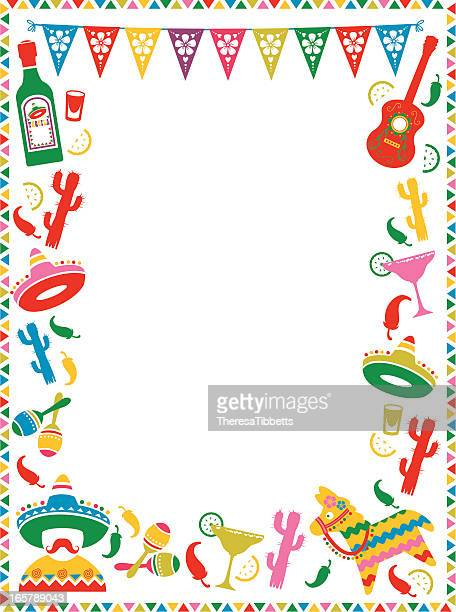 mexican party frame - sombrero stock illustrations