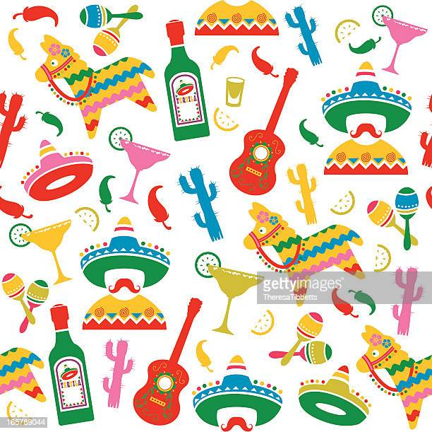 mexican party seamless pattern - sombrero stock illustrations