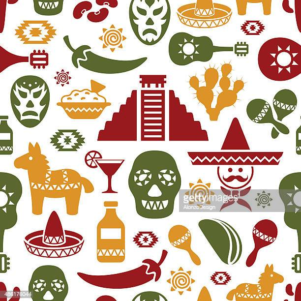 mexican pattern - sombrero stock illustrations