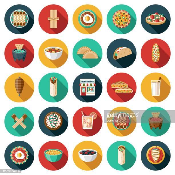 mexican restaurant icon set - empanada stock illustrations