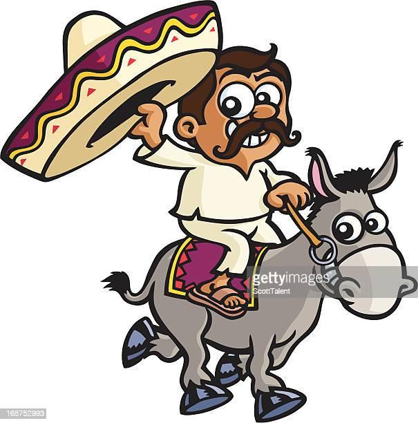 ilustrações, clipart, desenhos animados e ícones de mexican em um burro - sombreiro