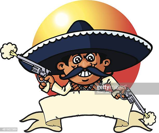 mexican robber banner - sombrero stock illustrations