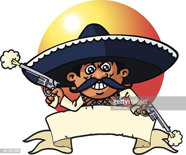 ilustrações, clipart, desenhos animados e ícones de robber banner mexicana - sombreiro