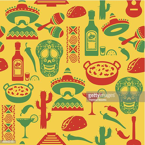 mexican seamless pattern - tequila drink stock illustrations, clip art, cartoons, & icons
