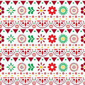 Mexican seamless vector pattern with flowers and abstract shapes - textile, wallpaper design