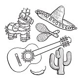 Mexican set sombrero, pinata, maraca, cactus, chili and spanish guitar