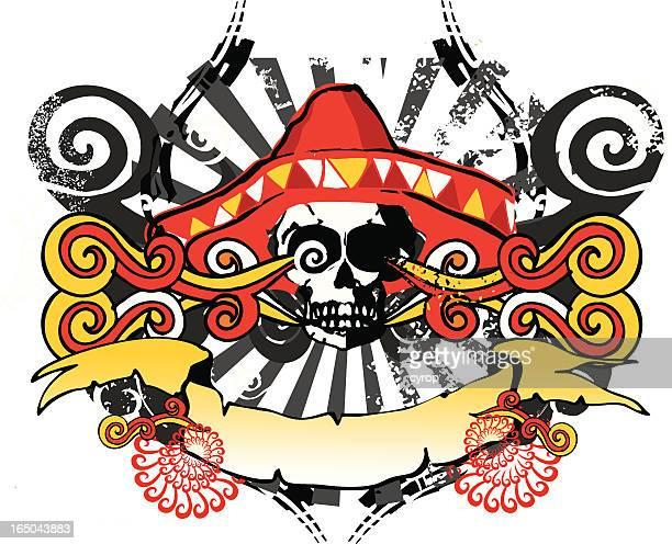 mexican skull emblem - sombrero stock illustrations