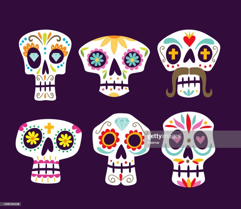 Mexican skull set. Vector illustration.