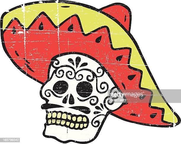 ilustrações, clipart, desenhos animados e ícones de caveira mexicana - sombreiro