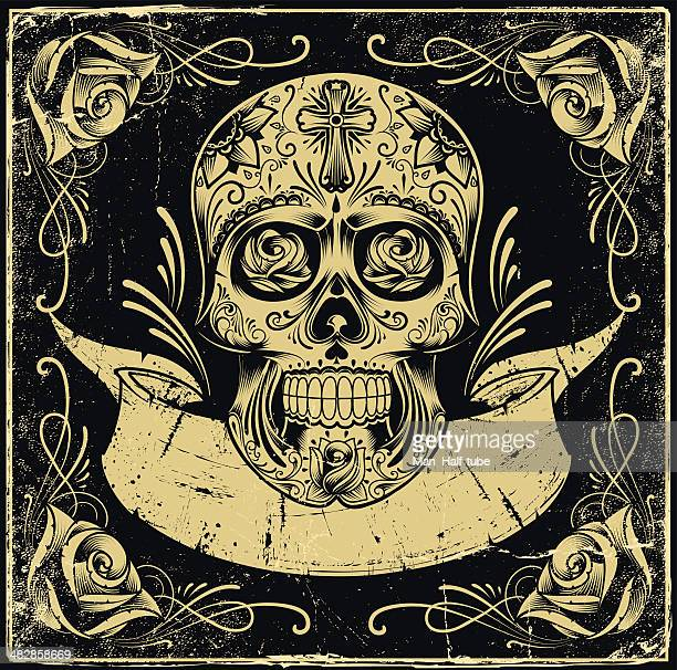 mexican skull - gothic style stock illustrations, clip art, cartoons, & icons