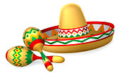 Mexican Sombrero Hat and Maracas Shakers