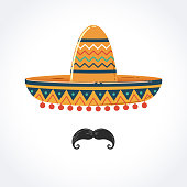 Mexican Sombrero with Mustache