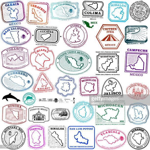ilustraciones, imágenes clip art, dibujos animados e iconos de stock de colección de sellos del estado mexicano - jalisco