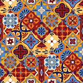 Mexican stylized talavera tiles seamless pattern in blue red and
