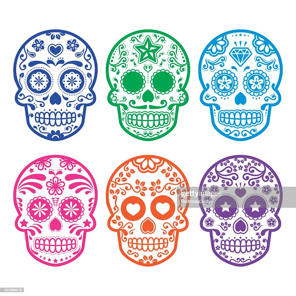 Mexican sugar skull icons set