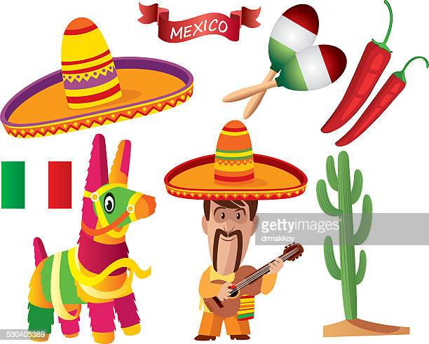 mexican symbols - sombrero stock illustrations